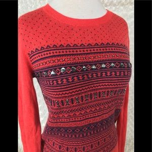 Christmas sweater red jewels Merona size xs kids m